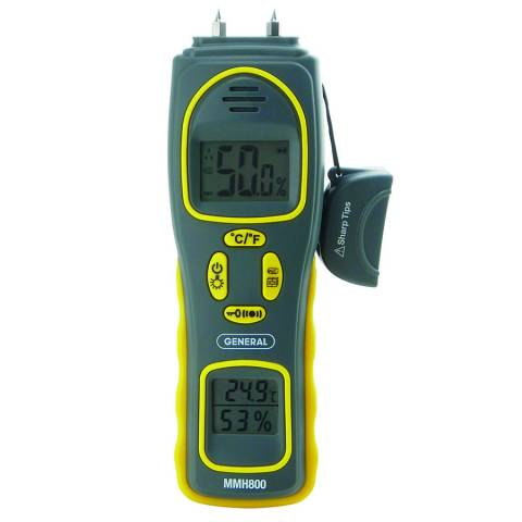 General Tools MMH800 Pin/Pinless Moisture Meter w/Temperature and Humidity