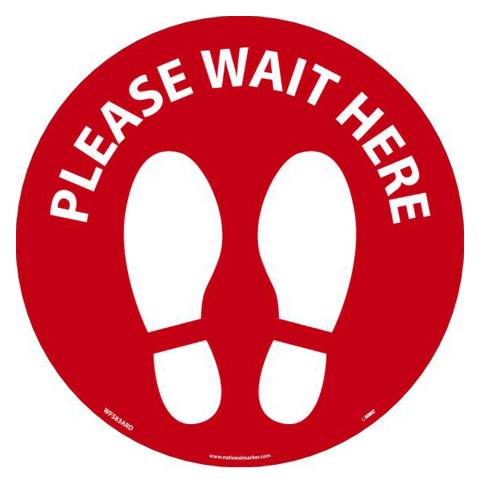 "NMC WFS83RD10 PLEASE WAIT HERE Footprint 8"" dia., Walk On Floor Sign, Non-Skid, LAM - 10/Pk"