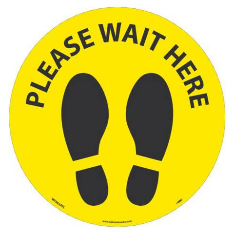 "NMC WFS83AYL10 PLEASE WAIT HERE Footprint 8"" dia., Walk On Floor Sign, Removable, Non-Skid, LAM - 10/Pk"