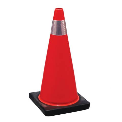 "NMC TPCC2 Rubber Orange Parking Cone With Collar - 28"" x 14.6"""