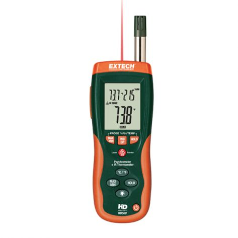 Extech/Flir HD500-NIST Psychrometer with InfraRed Thermometer - NIST Certified