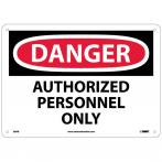 "NMC D9AB Danger Authorized Personnel Only Sign - Standard Aluminum, 10"" x 14"""