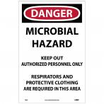NMC D895 Danger Microbial Hazard Paper Sign - Pack of 100