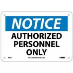 "NMC N34A Authorized Personnel Only Sign - Standard Aluminum, 7"" x 10"""