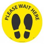 "NMC WFS83YL10 PLEASE WAIT HERE Footprint 8"" dia., Walk On Floor Sign, Non-Skid, LAM - 10/Pk)"